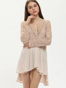 Apricot Neutral Long Sleeve Lace Pleated Dress