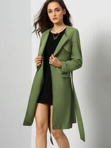 Army Green Long Sleeve Pockets Trench Coat