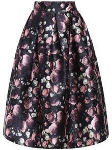 Multicolor High Waist Floral Flare Skirt