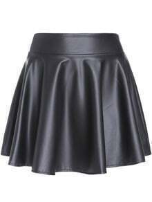 Black Elastic Waist Mini Skirt