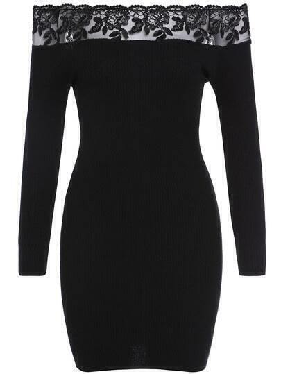 Black Hourglass Boat Neck Lace Bodycon Panelled Tube Sweather Dress