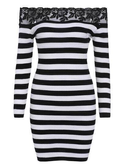 Black Boat Neck Lace Bodycon Dress