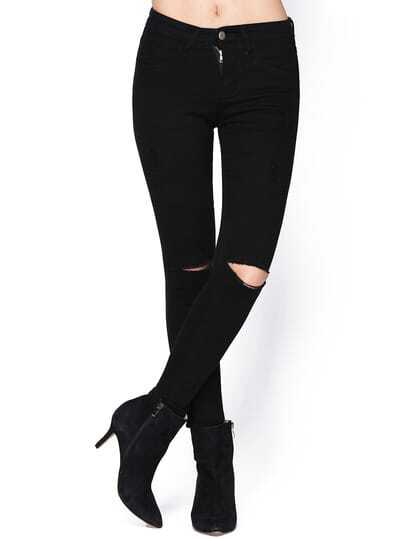 Black Slim Cut-out Denim Pant Stylish Cosy Curved Jeans