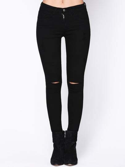 Ripped Knee Ankle Jeans -SheIn(Sheinside)