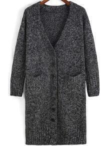 Grey V Neck Buttons Pockets Sweater Coat