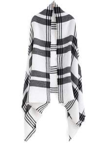 Black White Plaid Casual Scarve
