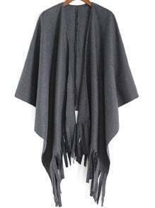 Dark Grey Casual Tassel Cape