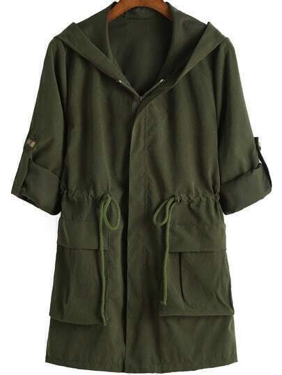 Army Green Hooded Drawstring Pockets Coat