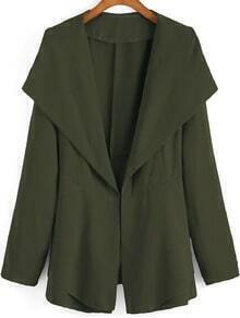 Army Green Lapel Tie-waist Casual Coat