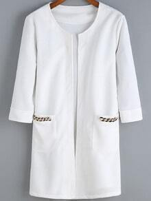 White Chain Embellished Pockets Casual Coat
