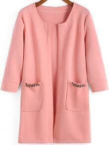 Pink Chain Embellished Pockets Casual Coat