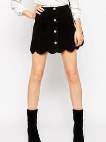 Black Single Breasted Scalloped Hem Denim Skirt