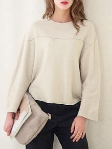 Beige Round Neck Loose Sweatshirt