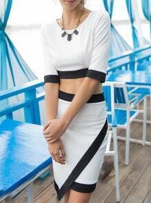 White Half Sleeve Crop Top With Wraped Skirt