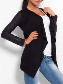 Black Contrast Sleeve Drape Front Blazer
