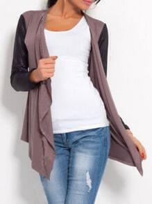 Khaki Contrast Sleeve Drape Front Blazer
