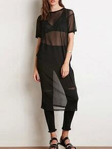 Black Short Sleeve Sheer Mesh Dress