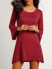 Wine Red Bell Sleeve Trapeze Dress