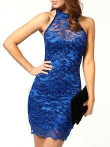 Blue Bodice Halter Eyelash Lace Bodycon Dress