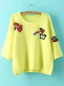Yellow Round Neck Badge Knit Crop Sweater