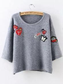 Grey Round Neck Badge Knit Crop Sweater