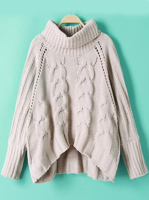 High Neck Cable Knit Dip Hem Sweater cable knit high neck sweater cardigan