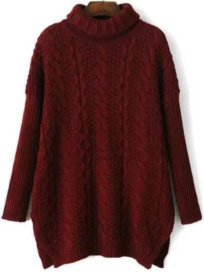 Red High Neck Batwing Cable Knit Sweater