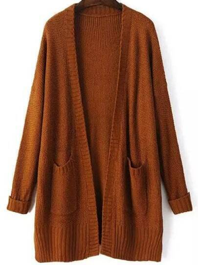 Khaki Long Sleeve Pockets Loose Mohair Cardigan