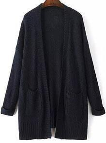 Navy Long Sleeve Pockets Loose Mohair Cardigan