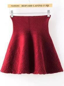 Red High Waist Jacquard Knit Skirt