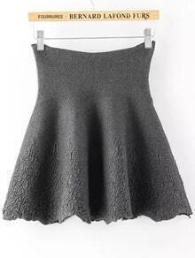 Grey High Waist Jacquard Knit Skirt