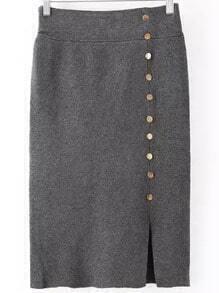 Grey Buttons Split Knit Skirt