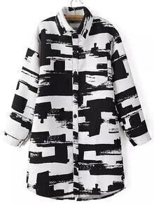 Black White Lapel Graffiti Print Loose Coat