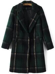 Green Lapel Plaid Pockets Woolen Coat