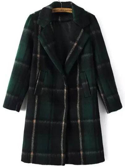 Green Lapel Plaid Pockets Woolen Coat