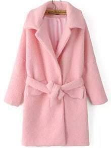 Pink Lapel Tie-waist Woolen Coat