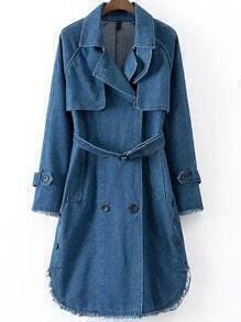 Blue Lapel Fringe Denim Trench Coat