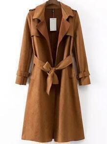 Khaki Lapel Tie-waist Epaulet Trench Coat