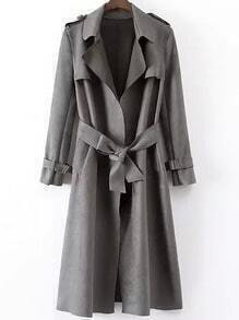 Grey Lapel Tie-waist Epaulet Trench Coat