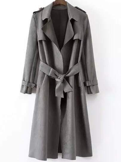 Grey Lapel Tie-waist Epaulet Trench Coat