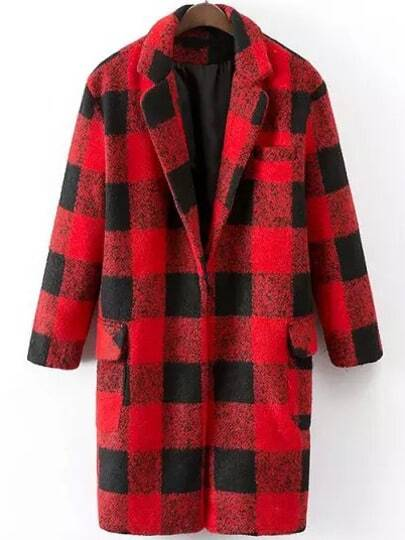Red Black Lapel Plaid Loose Woolen Coat