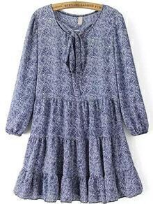 Blue White Tie-neck Leaves Print Chiffon Dress
