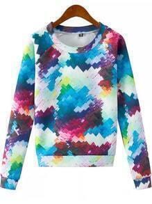 Multicolor Round Neck Geometric Print Sweatshirt