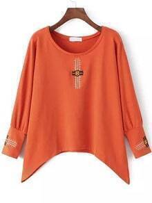 Orange Round Neck Tribal Embroidered Loose Sweatshirt