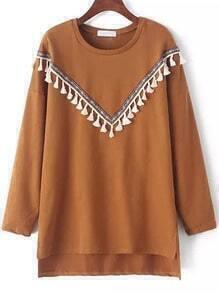 Khaki Round Neck Tribal Tassel Dip Hem Sweatshirt