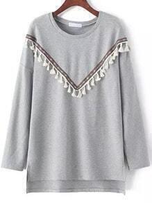 Grey Round Neck Tribal Tassel Dip Hem Sweatshirt