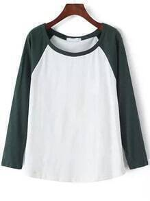 Green White Round Neck Loose Casual T-Shirt