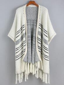 White Batwing Striped Tassel Sweater