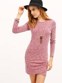 Purple Lila Pullover Long Sleeve Bodycon Fairisle Dress
