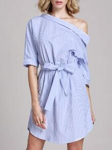 Blue Shouldered Half Sleeve Off The Shoulder Striped Dress